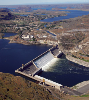 Washington's Grand Coulee Dam, on the Columbia River, is one of the world's largest concrete dams.