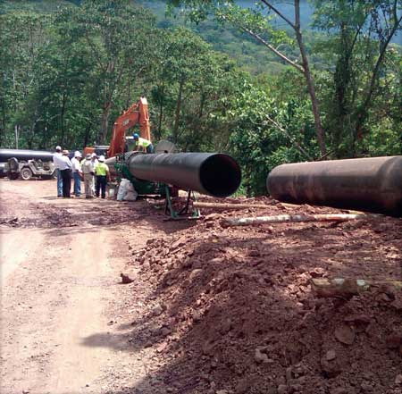 High-density polyethylene pipe was used to supply water to the 9.7 MW Choloma powerhouse in a hilly part of Guatemala because of its flexibility over uneven terrain and its lower installation costs when compared with stainless steel pipe.