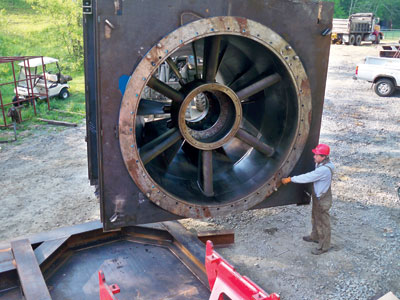 The 2.2-MW Kaplan turbine is shown prior to installation within a power module for ease of attachment to the headgate.