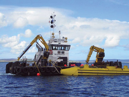 """The 2-MW """"SR2000"""" commercial-scale tidal turbine, similar to the one shown here, will be installed at teh Lashy Sound demonstration project in Spring 2014"""