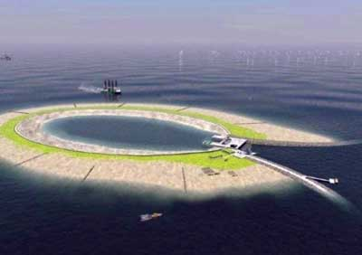 """Belgium's """"ring island"""" energy storage scheme will have pumped-storage turbines at the open end of the horseshoe, with a capacity of 300 MW."""
