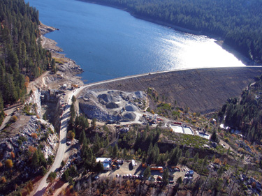 L.L. Anderson Dam impounds a large reservoir used for irrigation and domestic uses, as well as providing water for power generation at the French Meadows powerhouse.