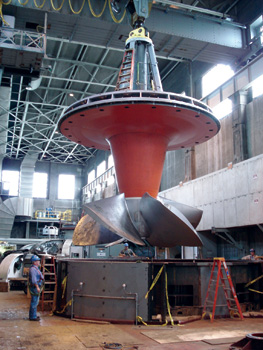 Installation of this fixed-blade turbine is part of a larger rehabilitation under way at the 86-year-old Ohio Falls hydropower plant in Kentucky. When finished in 2015, the work is expected to boost electric output by 27%.