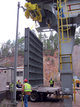 The new trashrack, being unloaded at the plant before installation, features varied bar dimensions and spacing, increased bar thickness and other attributes designed to deal with the unique site conditions.