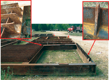 The lower portions of the trashracks at the 450-MW Taum Sauk pumped-storage plant failed during service. The insets show a bar from the lower remaining portion of the trashrack (on right) and several individual bars from the upper part of the remaining trashrack (on left).