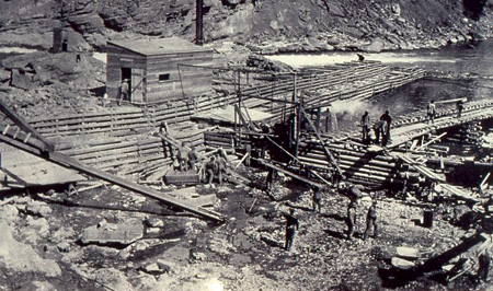Horses served as the main equipment mover during construction of the Kananaskis hydropower facility, which was built by 400 men.