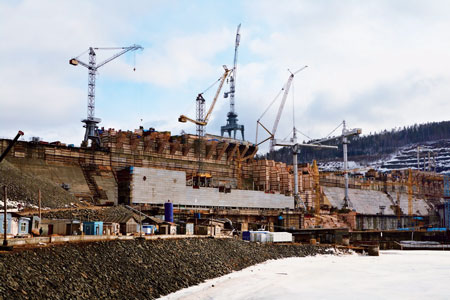The 3,000 MW Boguchanskaya project, now under construction on the Angara River in Russia, is operating eight of its nine turbine-generator units.