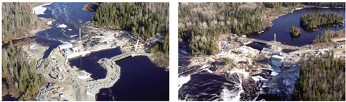 The four facilities are located south of the town of Kapuskasing. Each has an identical design as seen above, with the powerhouse situated on the left bank of the river.