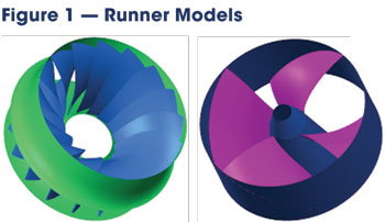 These runner models for the Francis turbine (left) and propeller unit (right) were obtained from Voith Hydro and scaled to match the dimensions of the entire unit models supplied by Canyon Hydro.