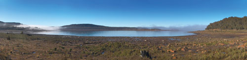 Uses for manmade Great Lake in Tasmania, Australia, include hydropower, fishing and tourism.