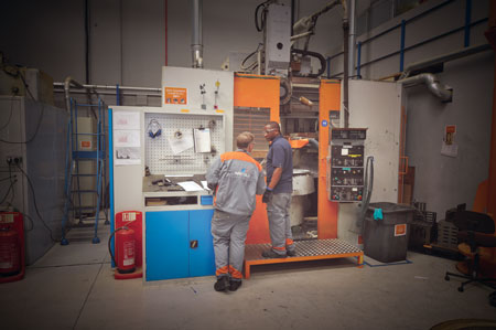 One of Wärtsilä's vertical turning lathes used to machine composite bearings and housings.