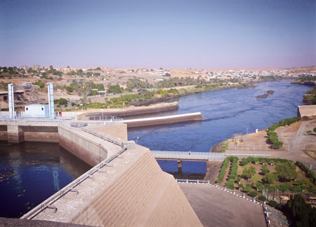 The 2,100 MW Aswan hydroelectric facility in Egypt dams the Nile River, which protects the area from floods and droughts. It impounds Lake Nasser that supplies water for agricultural production, creates jobs and aids tourism.