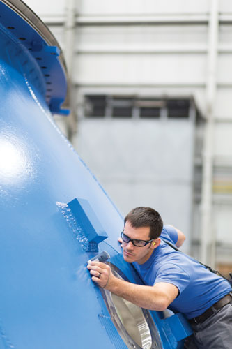 A spherical valve is being measured in Voith Hydro's workshop in York, Pa.