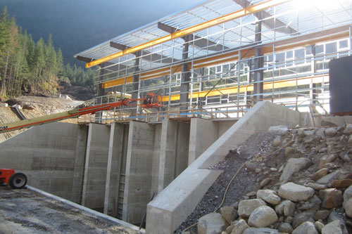 The 40.6-MW Big Silver Creek powerhouse is taking shape quickly in British Columbia, Canada. This project is expected to begin operating in 2016, with BC Hydro purchasing the power generated.