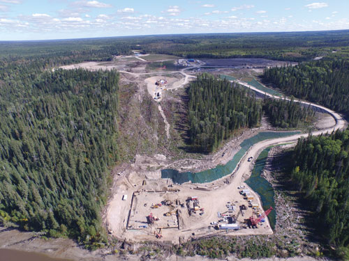 This overview of the site being developed for the 28-MW Peter Sutherland Sr. Generating Station shows the future location of the powerhouse relative to the waterway. This facility is expected to be complete in 2017.