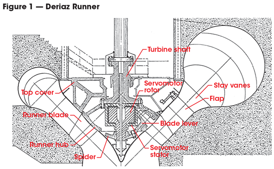 This cutaway view shows the unique configuration of the Deriaz runners used at the Sir Adam Beck Pump Generating Station.