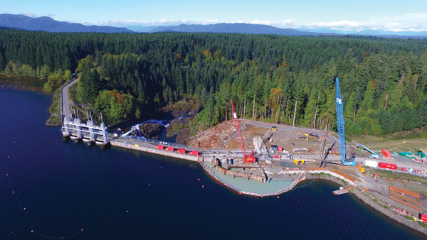 The new cofferdam at John Hart Dam is nearly complete, which will allow for the construction of the new water intake under the dam to the tunnel.