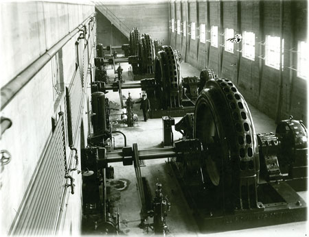 Four turbine-generators are pictured in the Prairie du Sac hydroelectric project as they appeared in 1914.