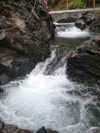Instead of constructing a separate fish passage system at Little Falls, Tacoma Power constructed a first-of-its-kind route directly into the area's bedrock.