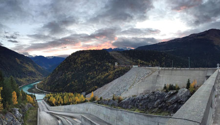 Mica Dam and hydro facility are pictured from the top of the spillway looking south to the Columbia River.
