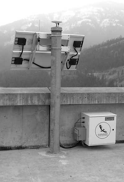 GPS station installed on top of a dam