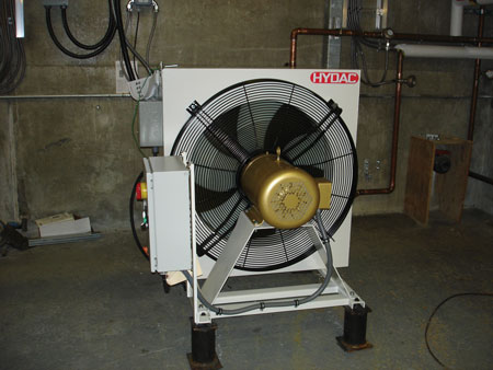 Air-to-water cooling fans were installed in the lower level of the Almonte Generating Station for primary cooling.
