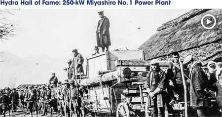Villagers manually transport a 250-kW turbine-generator to the Miyashiro No. 1 Power Plant, circa 1903. View a video about the project at http://bit.ly/2dmxCbE