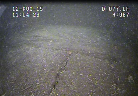 This crack in the concrete apron at the Lower Baker project was discovered using a remotely operated vehicle.