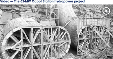 Wooden forms were used to shape the station's concrete draft tubes, which were constructed in 1914. (Video is also available at the following link