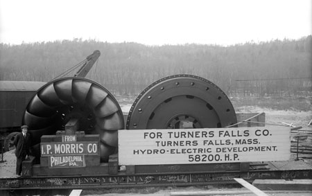 The Cabot Station turbine runner assembly arrived by railroad on March 2, 1915.
