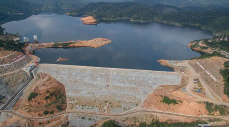 This photo provides a general view of the Nam Ngiep II hydropower project in Laos.
