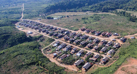This aerial view pictures the resettlement village where project affected people were relocated.
