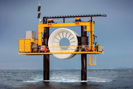 Pictured here mounted on its subsea base, the top of the 16-meter-diameter, 2-MW OpenHydro Open Centre turbine is designed to sit 20 to 25 meters above the seabed. (Photo courtesy Mike Brookes-Roper)