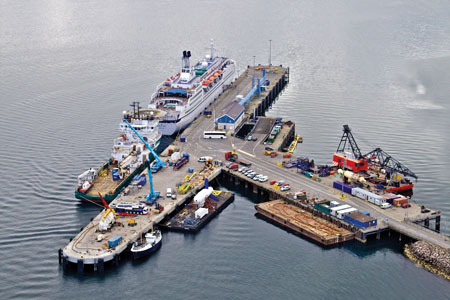 A 160 meter-long extension was added to Haston Pier in Hatston Quay, Kirkwall, Orkney, in 2013, extending it from 225 meters to 385 meters  -  almost one-quarter mile. The pier accommodates Scotland's longest commercial deep-water berth. (Photo courtesy K4 Graphics)