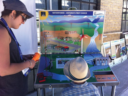 A student observes OWA's renewable energy display, which demonstrates hydro's place in the larger energy landscape.