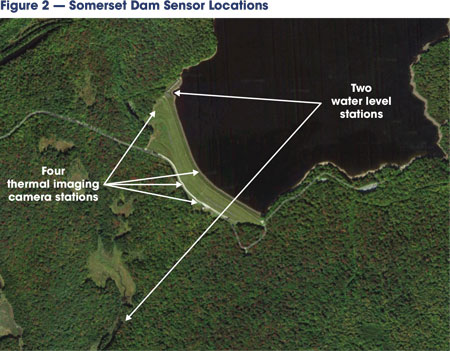This graphic depicts an aerial view of Somerset Dam with arrows delineating the location of AquaEdge water sensors and thermal imaging cameras.