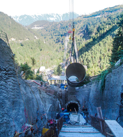 In 2016, construction of the headrace penstock at the 18-MW Krafthaus Obere Sill project in Austria necessitated 2.5-m-diameter pipe sections be installed on a 45-degree slope in the Alps. (View video at http://bcove.video/2oCOgV0)
