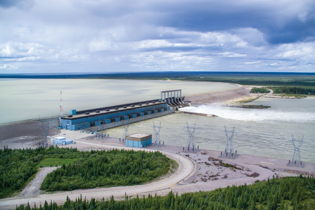 The 1,010-MW Long Spruce Generating Station on the Nelson River in Manitoba, Canada, owned by Manitoba Hydro. photo courtesy Manitoba Hydro