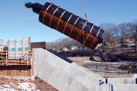 The 20-ton turbine installed by New England Hydropower at Meriden in December was the first of its kind to be placed in the United States.
