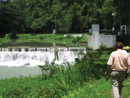 Prior to its expansion, this was the existing Maggotty Falls weir on the Black River in the parish of St. Elizabeth in western Jamaica.