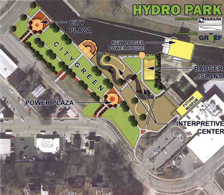 This plan for the Hydro Park shows the new Badger powerhouse and other features, including a future museum site. The photo at right shows the completed park with the old Kaplan turbine.