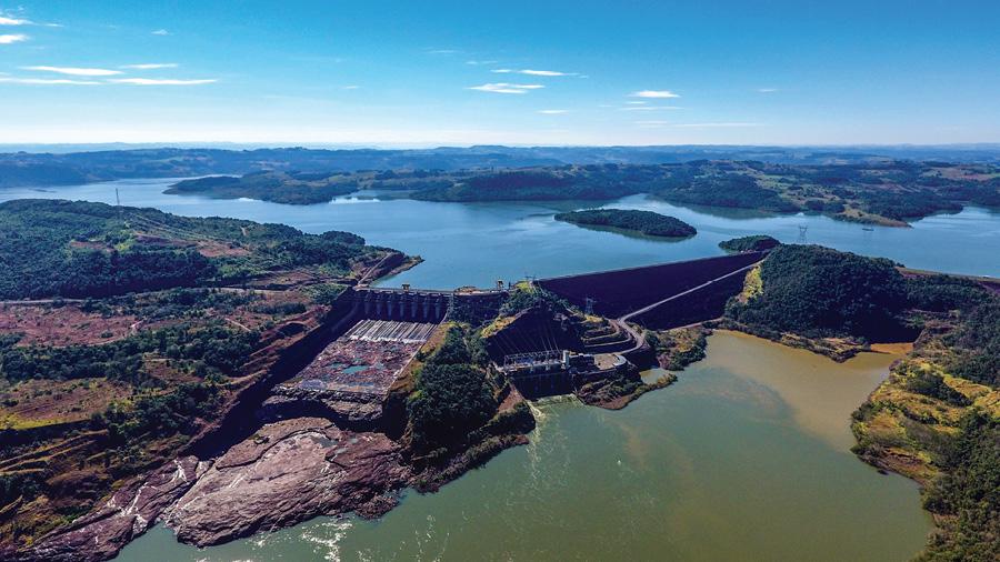 The 1,140-MW Usina Hidreletrica Machadinho in Piratuba, Santa Catarina, Brazil, is owned by Consorcio Machadinho. (Photo courtesy Machadinho)