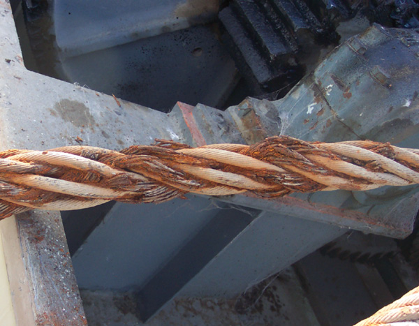 This corrosion of the steel cables used to lift the spillway gates at Clyde required that the cables be replaced.