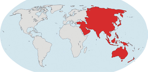 The Asia and Oceania region includes more than 60 countries, with geographical boundaries spreading from eastern Europe far into the Pacific Ocean.