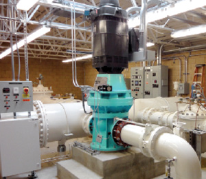 This is an energy recover hydropower unit installed in a water treatment plant. (photo courtesy Canyon Hydro)