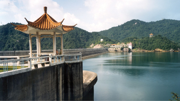 The 2,400-MW Guangzhou pumped storage station near Guangzhou, Guangdong province,  China, consists of the Guangdong Upper and Guangdong Lower reservoirs and an underground powerhouse. The facility's roller-compacted-concrete dam impounds Liuxihe River.