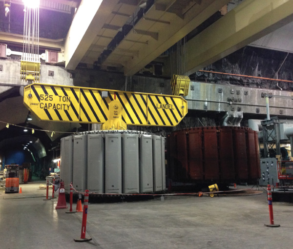 The new rotor installed at Helms sits next to an old one that was removed from the same unit.